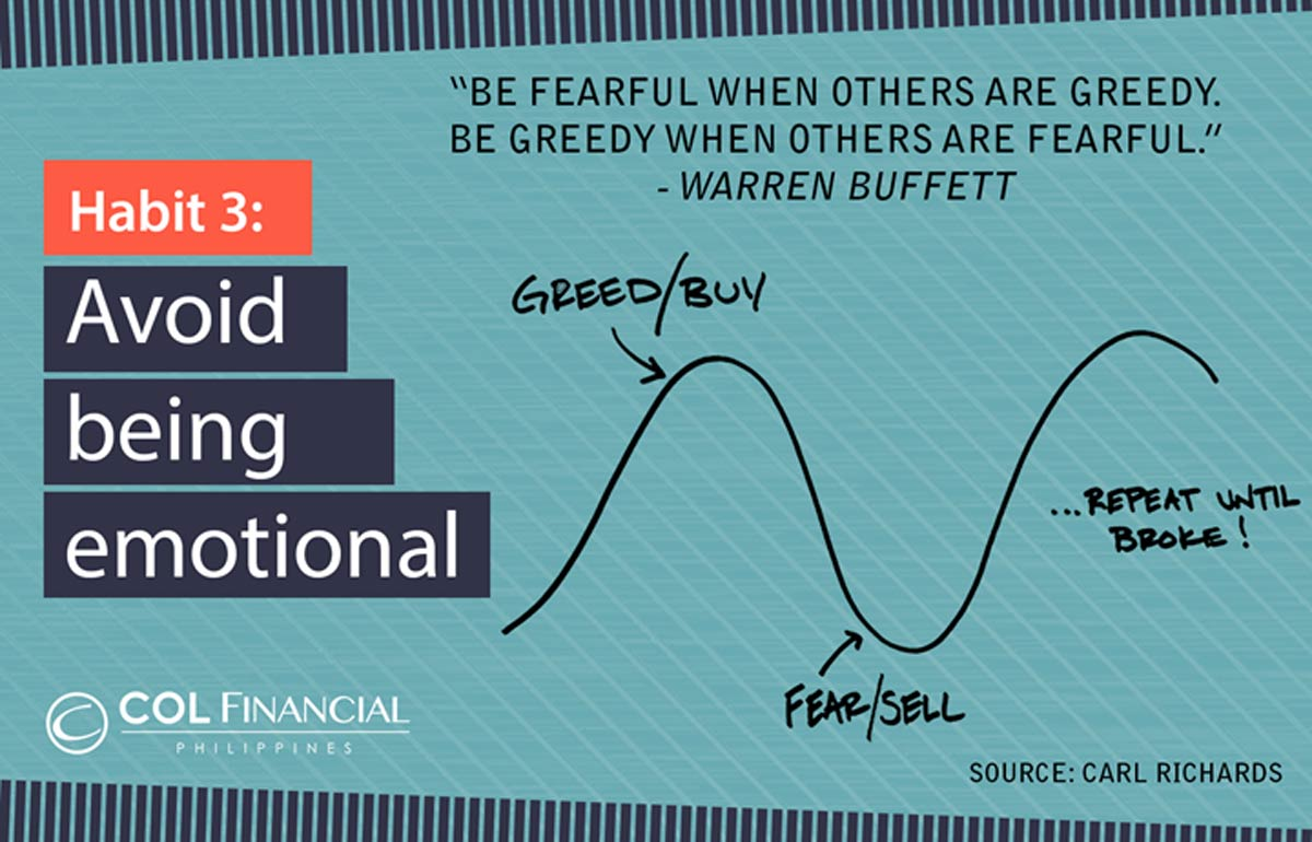 HABIT 2: AVOID TIMING THE MARKET   When the market corrects,investors usually sell their positions with the intention of buying back when the market recovers.  Intuitively, this should be a more profitable strategy as investors avoid big draw downs in the value of their portfolios.  However, studies show that timing the market is a very dangerous habit. According to a study conducted by Davis Advisors (using Bloomberg data), investors who just stayed invested in the S&P 500 from 1994 to 2013 would have generated an annual return of 9.5%. On the other hand, investors who had missed the 10 best days of the market during the same period would have seen their returns diminish to only 5.5% annually,while those who had missed the best 60 days would have generated a loss.  The same holds true for the Philippine stock market. In fact, market timers are hurt even more significantly given the greater volatility of local stocks. While investors who just stayed invested in the PSEi from 1996 to 2016 would have generated an annual return of 9.4%, those who had only missed the 10 best days would have already generated a loss of 0.4%!
