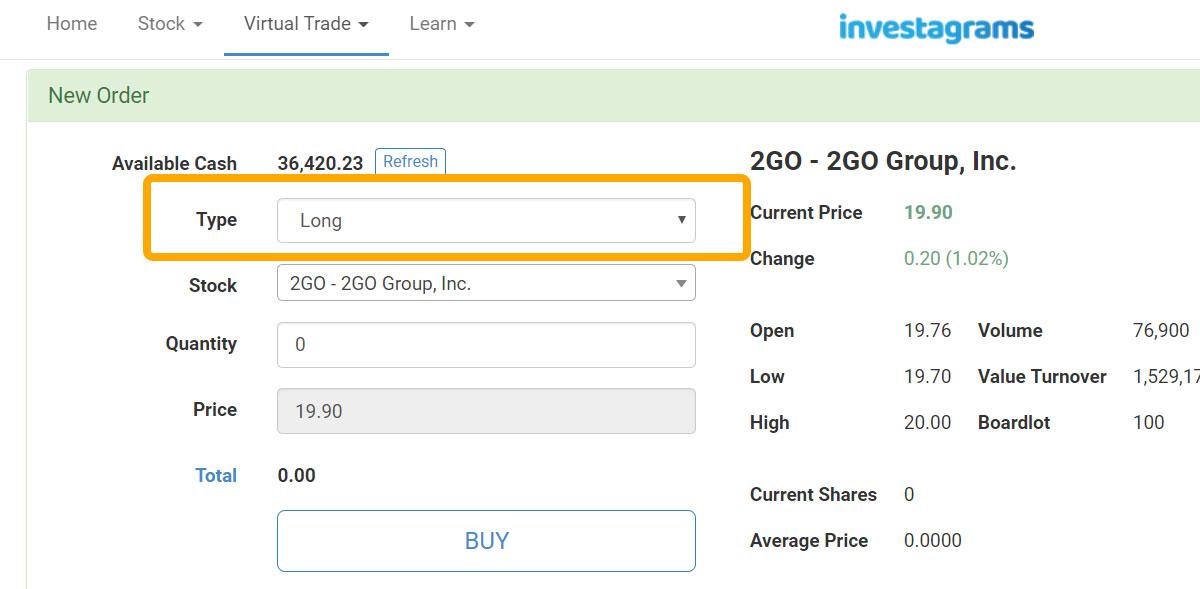 short-position-virtual-trading